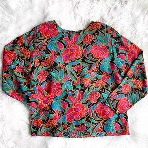 Vintage Tess Silk Floral Blouse
